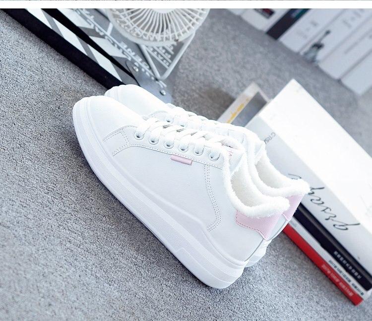 Mhysa 2020 zima kobiety Sneakers moda oddychające buty wulkanizowane dodatkowa warstwa bawełny Pu skórzana platforma zasznurować biały dorywczo L626