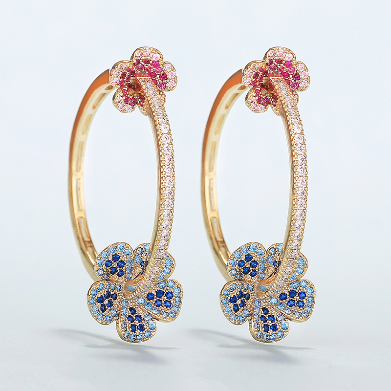 Luxury Flower Earrings For Women Color Zircon Round Hoop Earrings Gold Plating XIUMEIYIZU New Hot Jewelry Wholesale Brazil