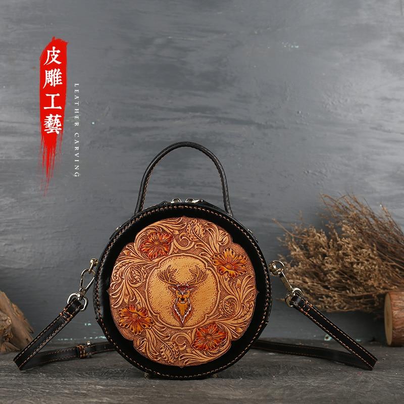 Кожаная женская сумка в стиле ретро, кожаная оригинальная женская сумка с наклонным ремешком, кожаная маленькая круглая сумка с резным узором