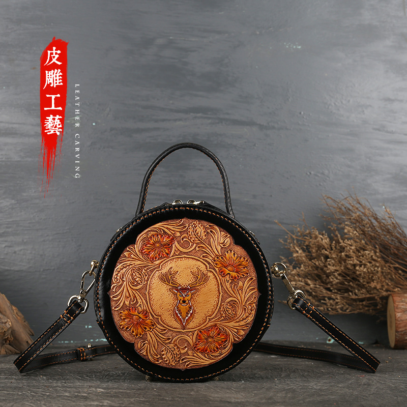 Leather women's bag retro head leather original women's slanted handbag leather carved small round bag