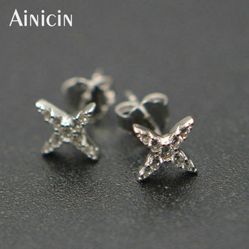 8mm Diameter X Star Shape S925 Sterling Silver Stud Earrings Delicate Fashion Women Jewelry Shine Party Gift Jewelry 24pairs