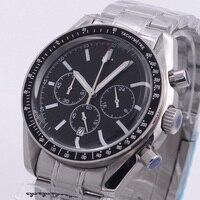 40 มม.Chronograph นาฬิกาส่องสว่างญี่ปุ่น VK ควอตซ์สีดำ dial สร้อยข้อมือสายวันที่ Multifunction นาฬิกาผู้ชาย