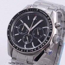 40mm Chronograph Watch Luminous Hands Japan VK Quartz Black