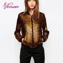 Versear, весенне-осеннее Женское пальто с блестками, куртка-бомбер с длинным рукавом на молнии, уличная туника, Свободная Повседневная Базовая женская верхняя одежда