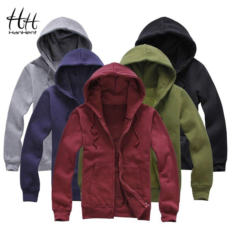 HanHent Men Fleece Hoodies 2017 Autumn Winter Fashion Zipper Warm Men Clothing Jackets Fitness Basic Sweatshirt Men L-XXXL