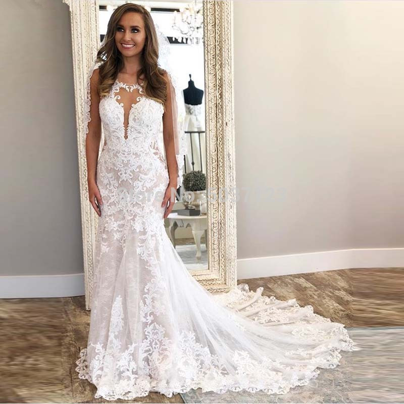 Custom Made 2020 New Design Wedding Dress Mermaid Backless Tulle Lace Appliques Sexy Bridal Wedding Gowns EY43