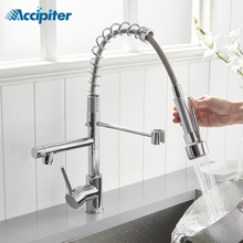 Taps Faucet Crane Swivel-Handle Chrome-Mixer Accipiter Hot-And-Cold-Water Dual Outlet