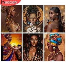 HUACAN 5D pintura de diamantes nueva llegada de la mujer africana diamantes de imitación diamante bordado Cruz puntada mosaico de retratos venta Decortion
