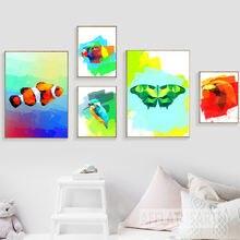 Красочные картины на холсте kingfisher бабочки стены искусства
