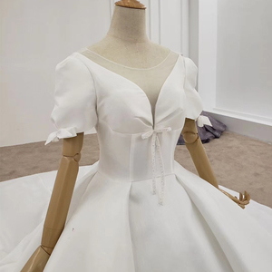Image 5 - HTL1372 Deep V Wedding Dress Half Sleeve Luxury Wedding Dress Front And Cuff With Bow Wedding Gowns Ball trouwjurken