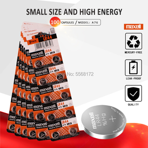 100 шт/10 упаковок для батареек Maxell 1,5 v LR44 AG13 A76 G13A LR1154 357A SR44 щелочные батарейки для монет