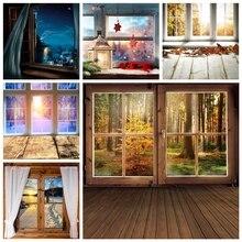 Yeele Holz Boden Fenster Tür Wald Bäume Herbst Weihnachten Fotografie Hintergrund Fotografische Hintergründe für Foto Studio Prop