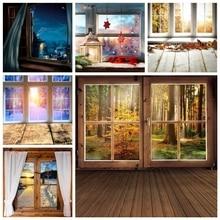 Yeele木製階の窓ドア林木秋クリスマス写真撮影の背景写真の背景写真スタジオの小道具
