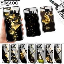 Golden Butterflies Sars Flower Glass Case for Samsung S7 Edge S8 S9 S10 Plus S10E Note 8 9 10 A10 A30 A40 A50 A60 A70
