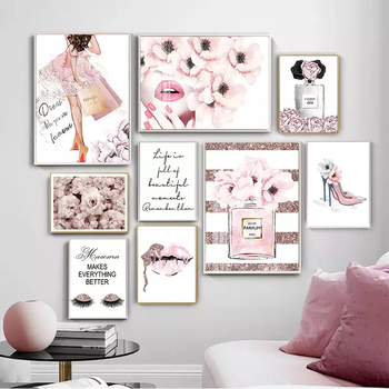 Abstract Pink Woman Perfume Lips, Leaves And Trunks, Nordic Canvas Posters, Decorative Paintings, Modern Life Murals image