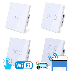 Image 5 - WIFI Touch Light Wall Switch White Glass Blue LED Universal Smart Home Phone Control 4 Gang 2 Way Round relay Alexa Google Home