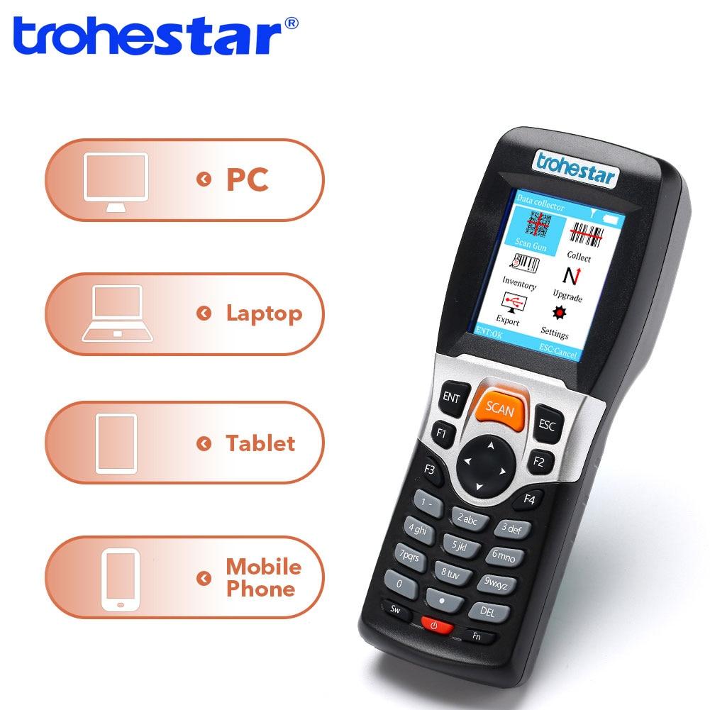 Trohestar Data Collector PDA Barcode Scanner 1D Bar Code Reader Wireless Handheld Inventory Counter Bar Code Scanners