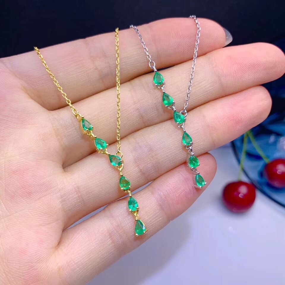 BOEYCJR 925 en argent Sterling émeraude collier chaîne bijoux énergie pierre gemme pendentif collier pour les femmes cadeau