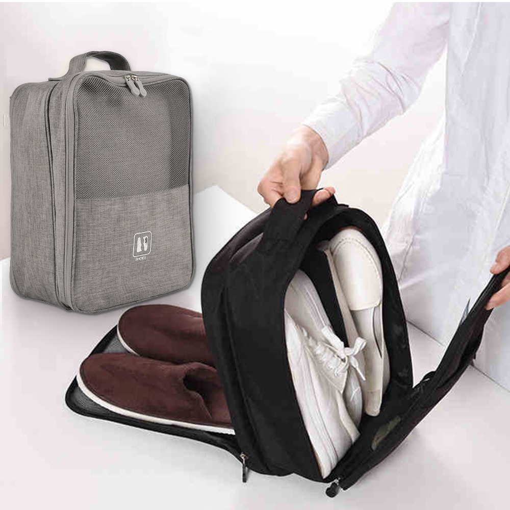 Portable Shoes Bags Polyester Foldable Pouch Beach Storage Bag Dustproof Shoes Organizer Convenient Travel Accessories