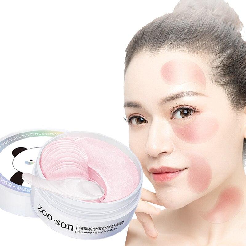 Colágeno rosa máscara de olho hidratante remendo calmante cuidados máscaras faciais anti idade rosa bonito hidrogel olhos remendos 60 pçs