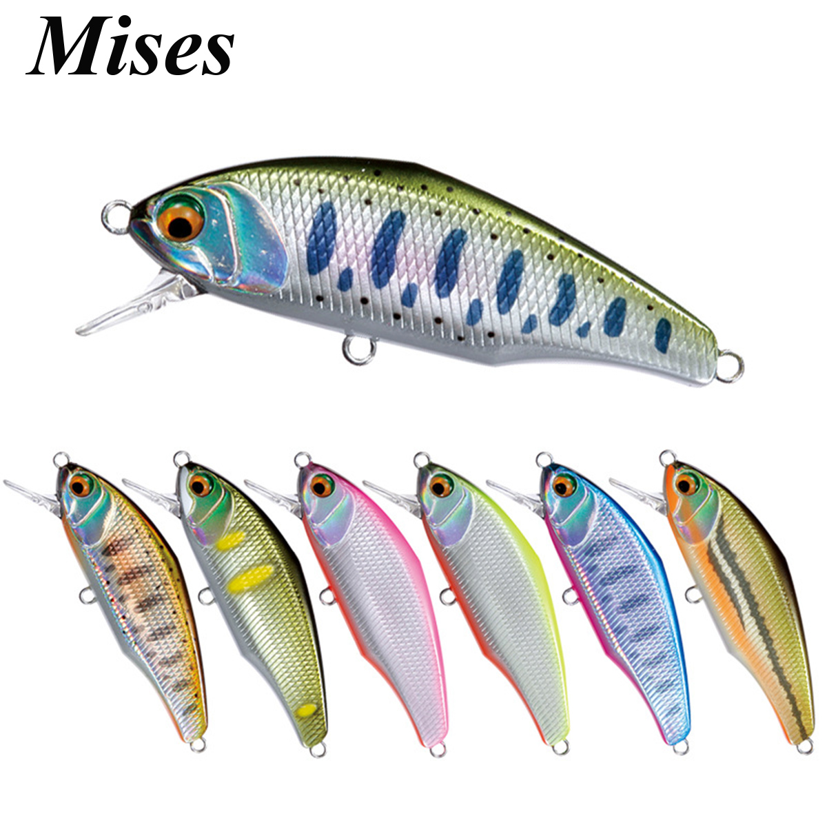 Mises 4.4cm 3.5g Twelve Colors Mini Sinking Bionic Minnow Lure 3D Eyes Artificial Plastic Hard Bait Fishing Lure Fishing Tackles