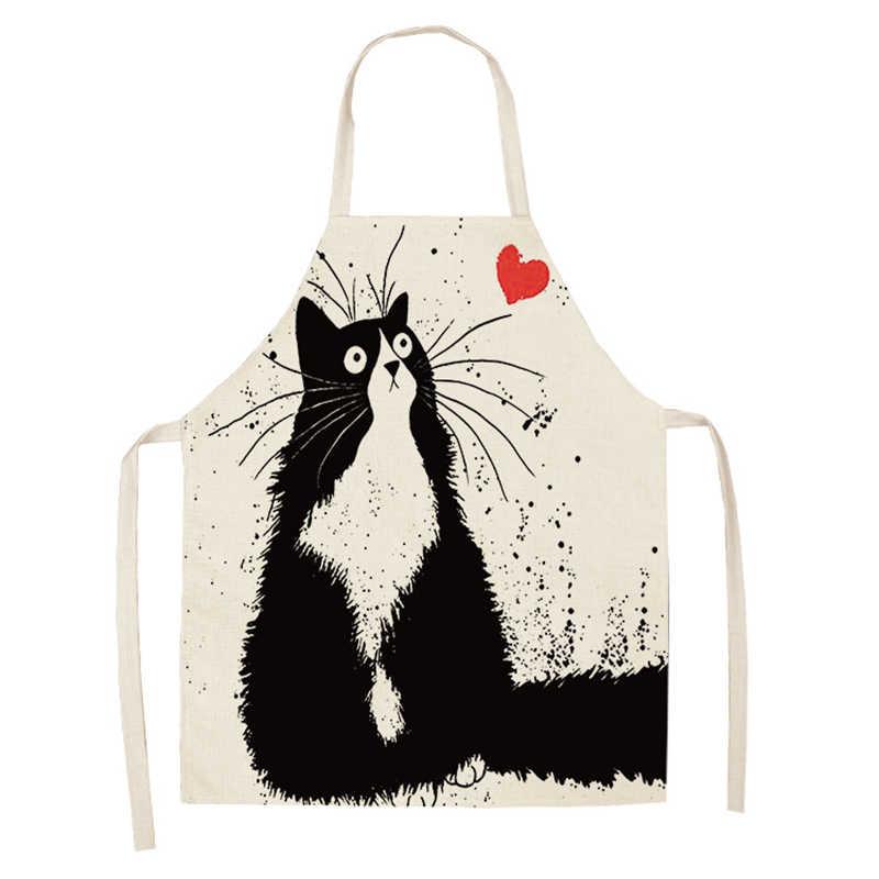 Senyue avental de cozinha engraçado cão bulldog gato impresso sem mangas algodão linho aventais para homens mulher casa ferramentas de limpeza