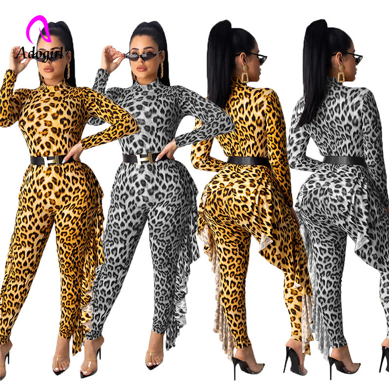 Gold Silver Leopard Print Ruffle Jumpsuit Turtleneck Long Sleeve Bodysuit Casual Skinny Romper Night Club Party Overalls Outfit