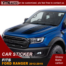 Car decals hood stripe gradient racing graphic Vinyl car stickers custom fit for ford ranger T6/T7/T8 2015 2016 2017 2018 2019
