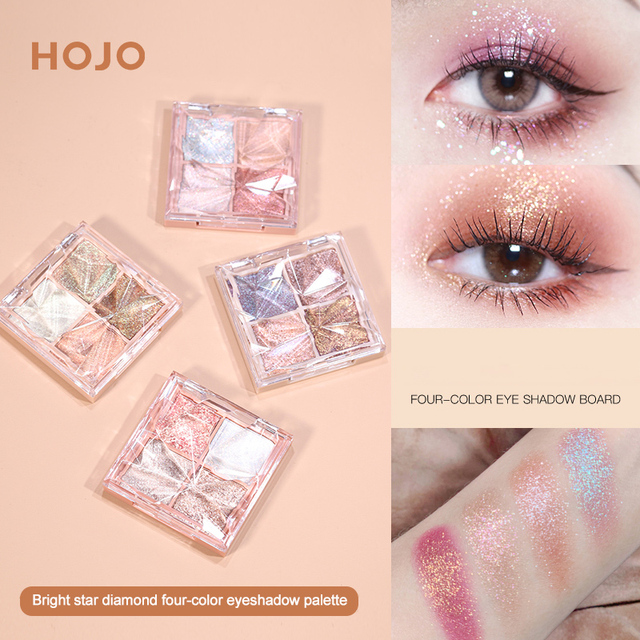 HOJO 4 Color Shimmer Eyeshadow Palette Comestic Glitter Pearlescent Long-lsting Waterproof Matte Eye Shadow Eye Makeup TSLM2 1
