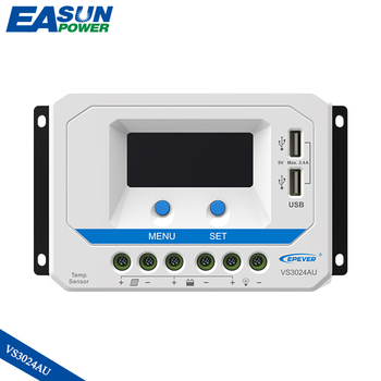 цена на EPever 12V 24V Auto Backlight LCD Solar Regulator Controller 30A Solar Charger with Dual USB Output VS3024AU