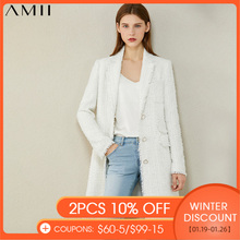 AMII Minimalismus Herbst Winter Mode Tweed Jacke Temperament Plaid Revers einreiher Lange Blazer Frauen Mantel 12070378