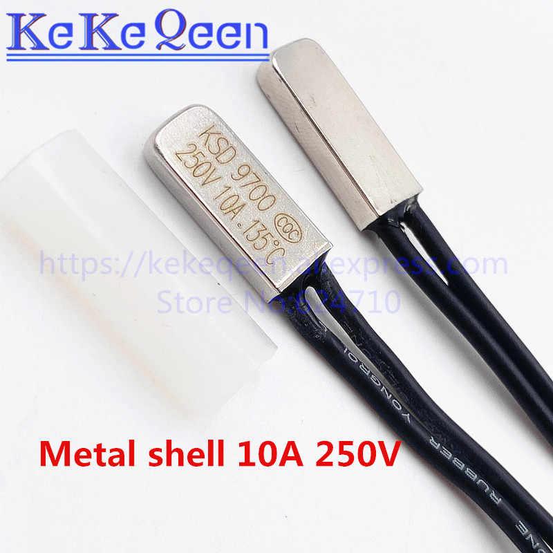 KSD9700 10A 250V 40 ~ 150 Derajat (N. C.) Biasanya Tertutup/Terbuka Saklar Suhu Bimetal Disc Thermostat Pelindung Bracket