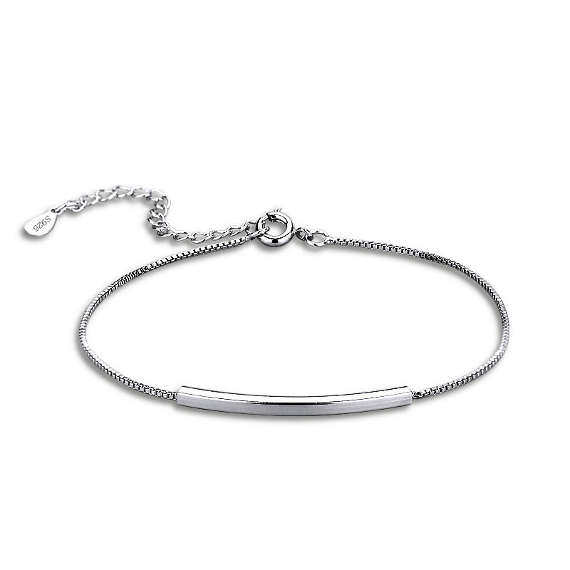 925 Sterling Silver Thin Bracelet Smooth Bend Bracelet Simple Fashion Fine Jewelry For Women Elegant Accessories