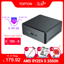 TOPTON-Mini PC AMD Ryzen 7 2700U 5 3550H Vega Graphic 2 * DDR4 M.2 NVMe, ordenador Gaming, Windows 10, 3x4K, tipo-c, HDMI2.0, DP, AC, WiFi