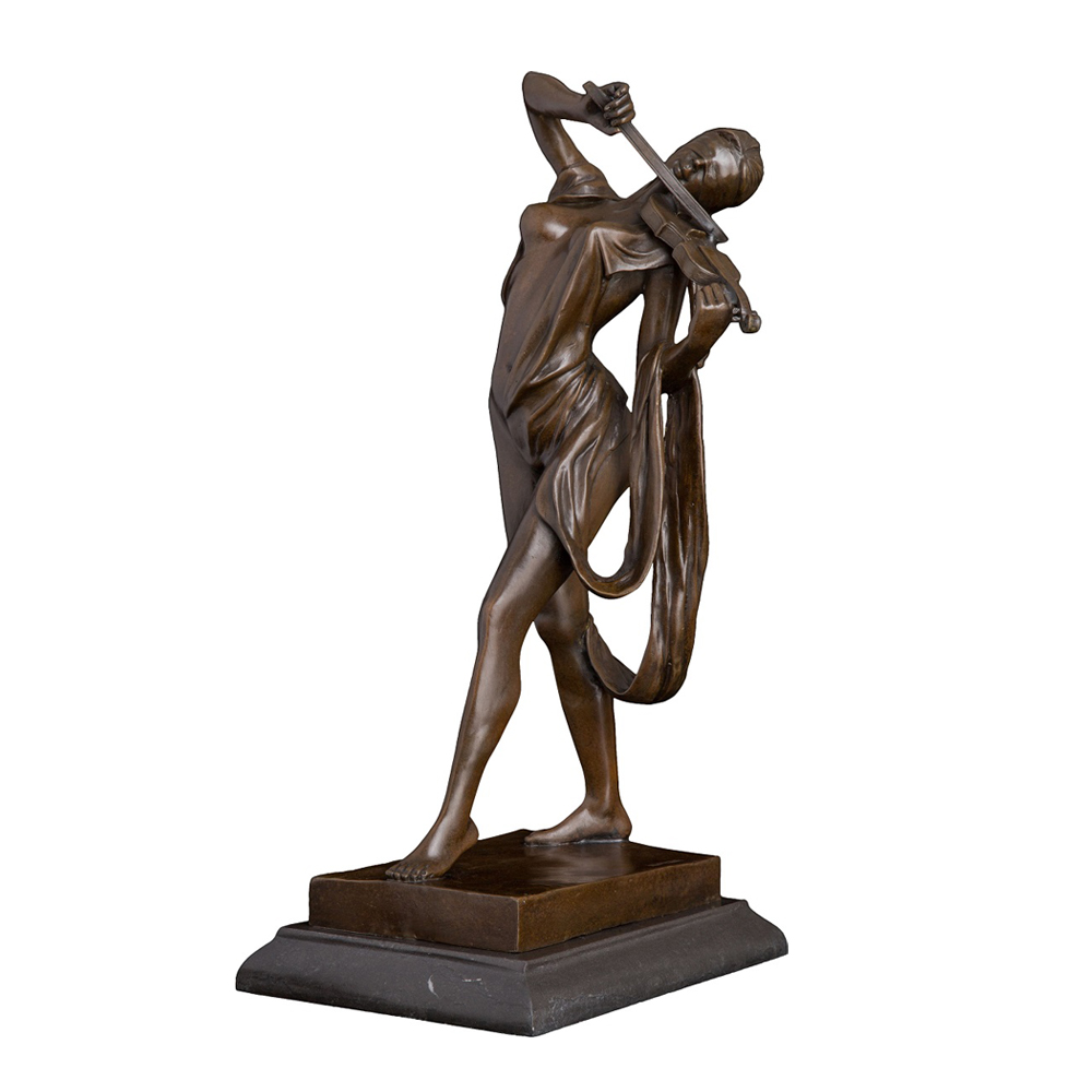 Female Violin Player Statue Sculpture Bronze Western Sexy Young Woman Violinist Figurine Artwork for Indoor Decoration Big