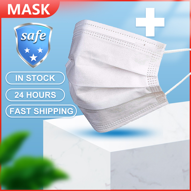 100pcs Mouth Masks Anti Dust Face Mask Disposable Mask Filter 3 layers Anti Dust Meltblown Cloth Masks Earloops Protective Mask