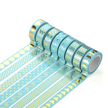 8pcs Basic Pattern Washi Tape Set Mint Green Color Diamond Wave Love Arrow 15mm Adhesive Masking Tapes Stickers Decoration A6938