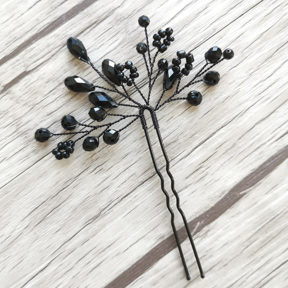 4PCS Black Color Handmade Hair Pins Wedding Hair Jewelry Accessories Crystal Bridal Hair Ornament For Party Head Decoration