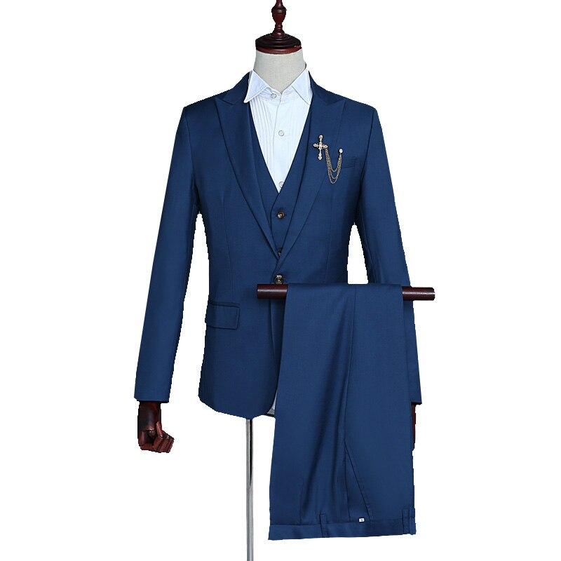 Fashion Men's Casual Suit Set Solid One Button Lapel Slim Suit Set Banquet Business Occasion Three-piece Set (Coat+Vest+Pant)