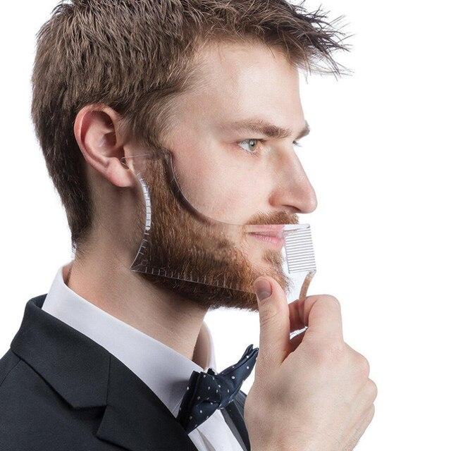 חדש כניסות גברים זקן עיצוב סטיילינג מסרק תבנית שקוף גברים של זקנים קומבס יופי כלי שיער זקן Trim תבניות
