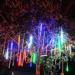 Image 3 - 8 צינור חג המולד אורות פיית Led מחרוזת אורות מטאור מקלחת גשם אור חיצוני קישוט רחוב גרלנד ליל כל הקדושים המפלגה מנורה