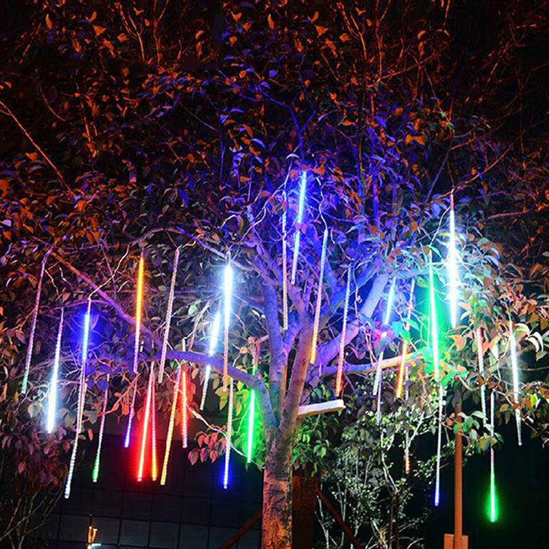 Image 3 - 8 Tube Christmas Fairy Lights Led String Lights Meteor Shower Rain Light Outdoor Decoration Street Garland Halloween Party Lamp-in LED String from Lights & Lighting on