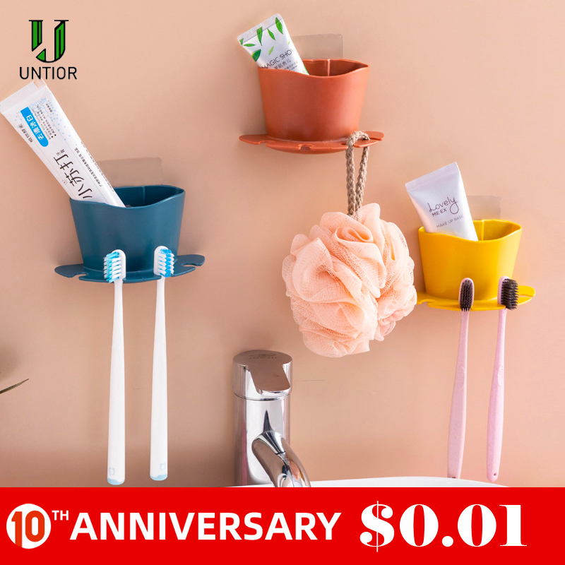 UNTIOR Plastic Toothbrush Holder Toothpaste Storage Rack Shaver Tooth Brush Dispenser Bathroom Organizer Accessories Set Tools