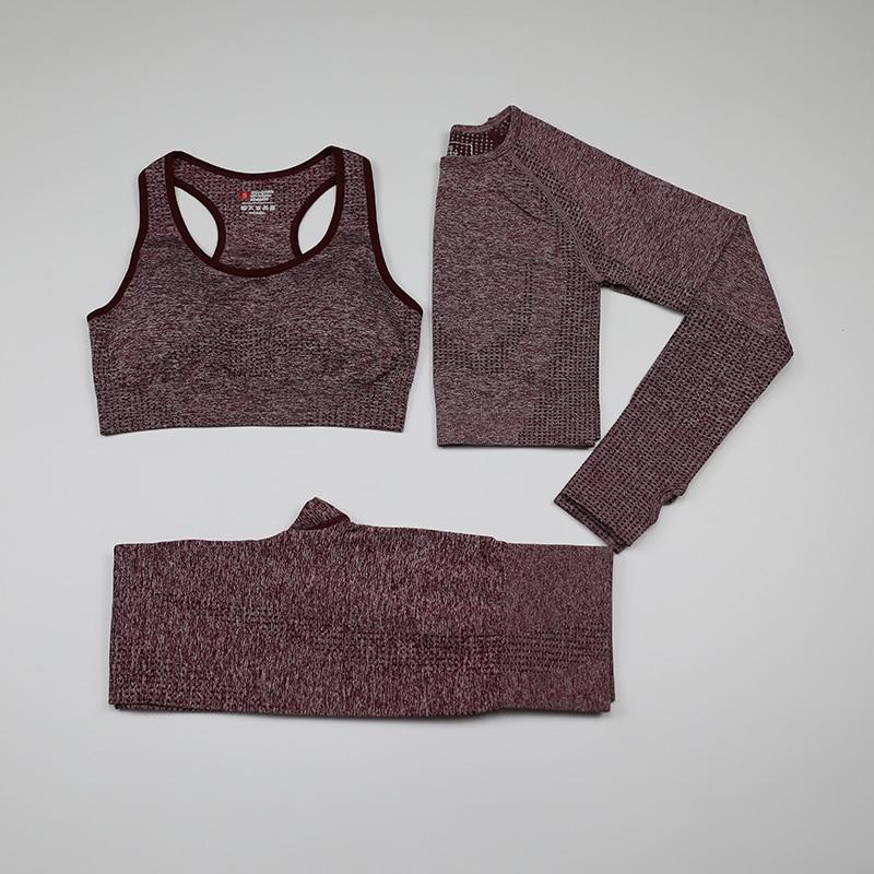 Vital Seamless Yoga Set Woman Sportswear 3 Pieces Long Sleeve Crop Top+Gym Leggings+Sport Brassiere Female Fitness Sports Suits