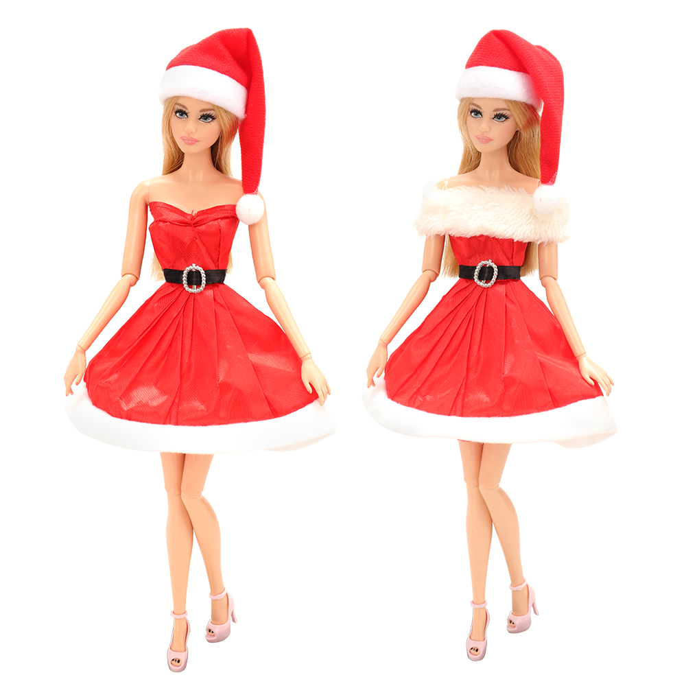 New Arrive Random Handmade Merry Christmas Outfit Dress Red Hat Clothes Doll Accessories For Barbie Doll Best Gift Girl Dressing