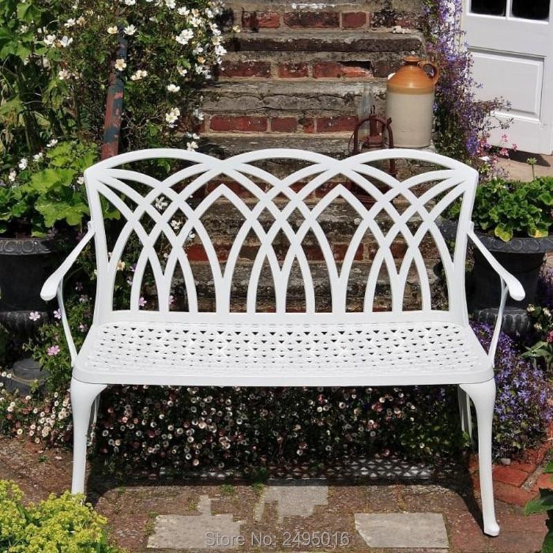 "51"" Patio Garden Bench Park Yard Outdoor Furniture Cast aluminum Frame Porch Chair|Garden Chairs| |  - title="