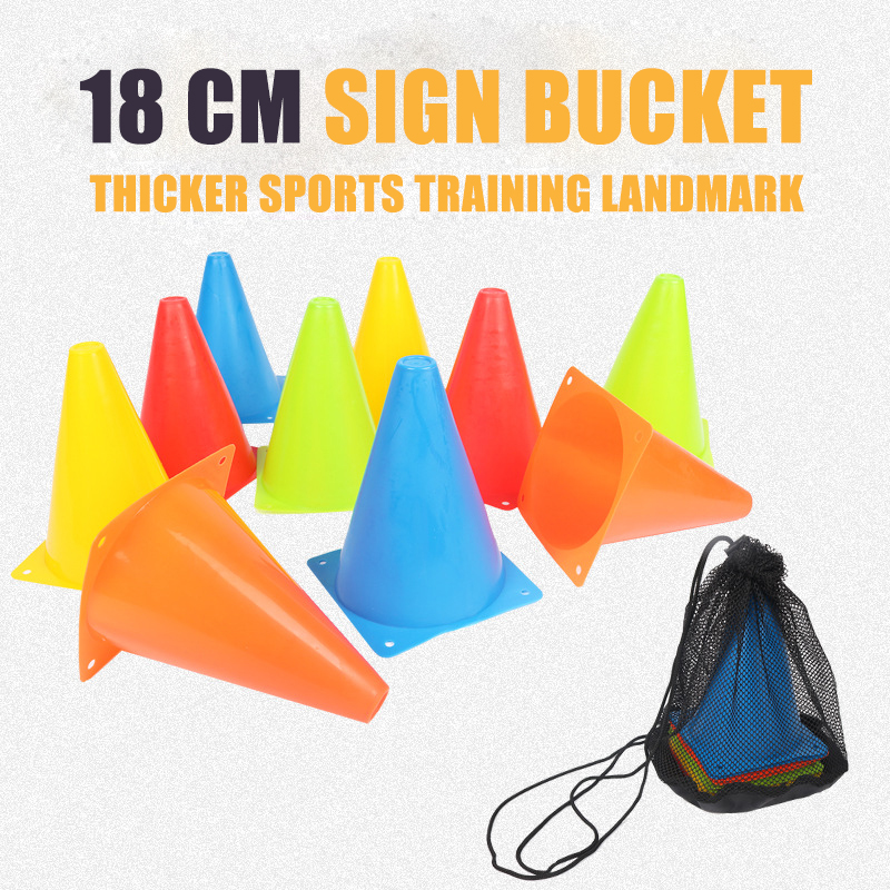 5pcs18CM Sign Bucket 6Inch Barrier Football Road Flat Training Cone Roller Pile Springback Marking Cup Symbol Sports Accessories