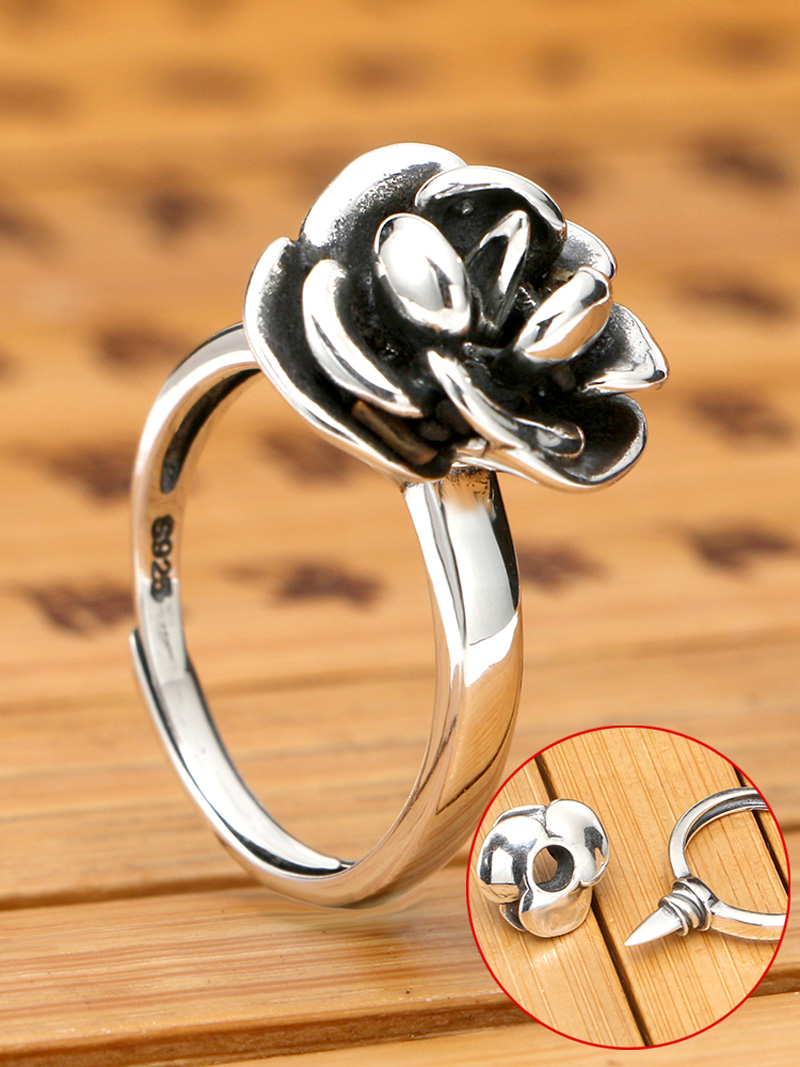 Rose Female Self-defense Ring S925 Sterling Silver Retro Ring Japanese And Korean Version Of The Creative Personality Ring