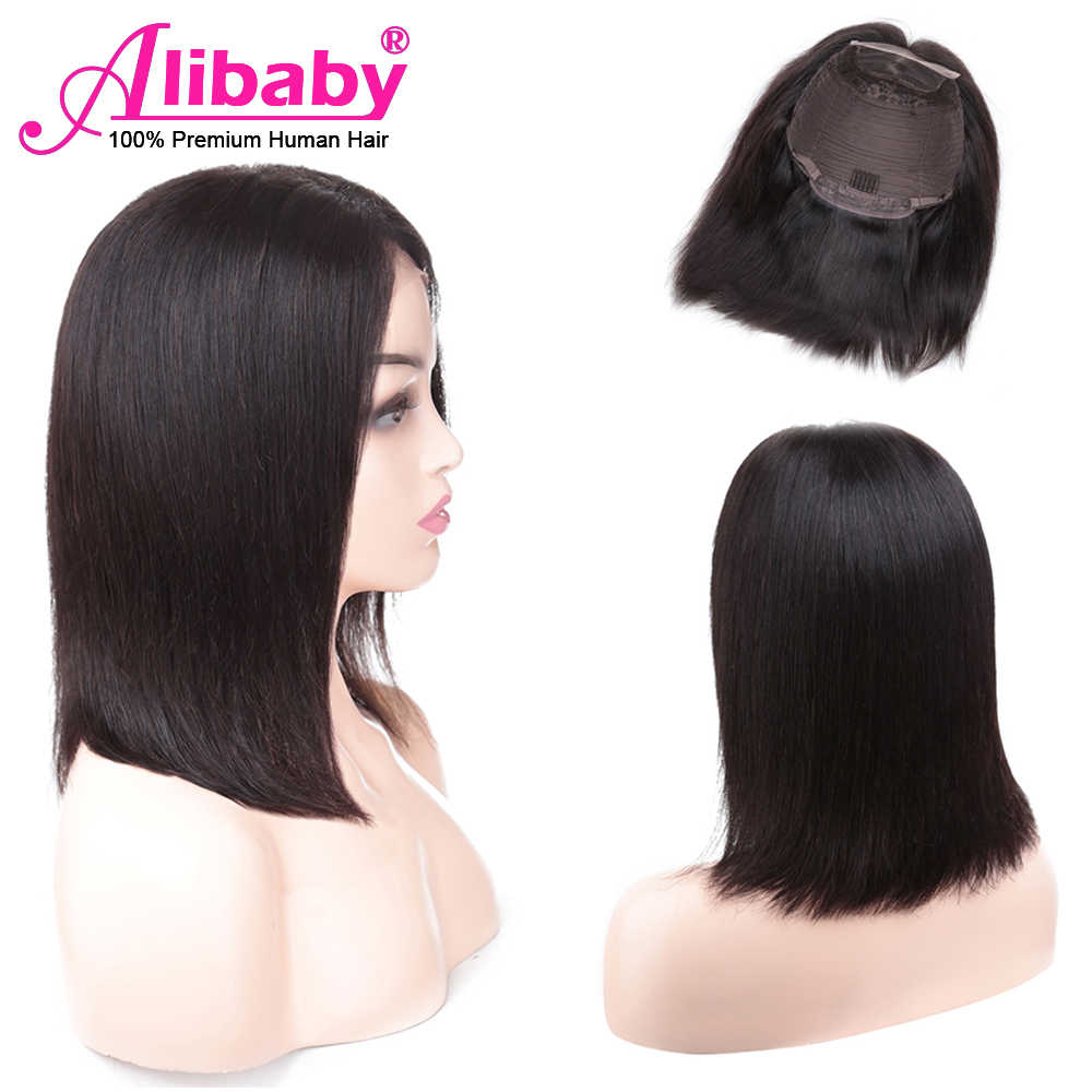 Alibaby Brazilian Hair Wigs Lace Front Human Hair Wigs Remy 4x4 Closure Wig Natural Color Pixie Cut Wig Bob 8-16 Inches