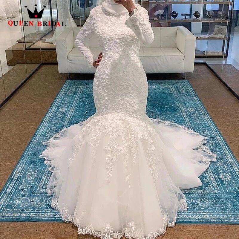 Muslim Wedding Dress Mermaid Long Sleeve High Neck Lace Beading 2020 New Design Vintage Formal Bridal Gowns Custom Made SH07